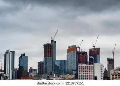 Construction of many skyscrapers on the East Side of New York City skyline in Manhattan