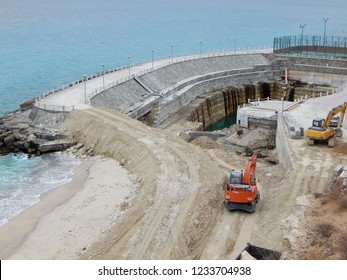 Construction of a marine dam. Aktau city. Kazakhstan.