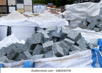 Construction Materials. Building materials for decoration and construction. Gray granite are sold in construction market. Close up.