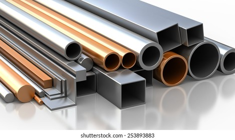 Construction materials. Set of rectangular, round, square steel and copper tubes and pipes, Industrial 3d illustration.