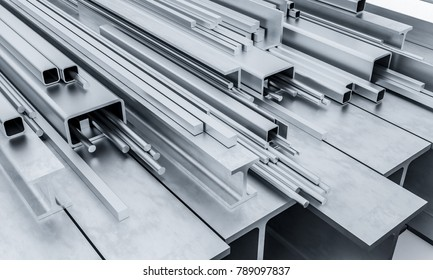 construction metal beam bar and pipe 3d rendering image