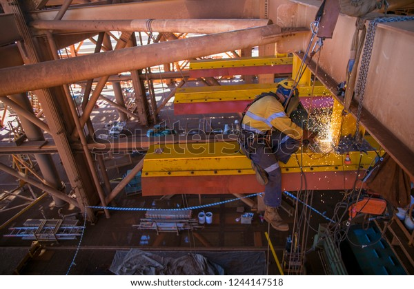 Construction Miner Abseiler Worker Wearing Safety Stock
