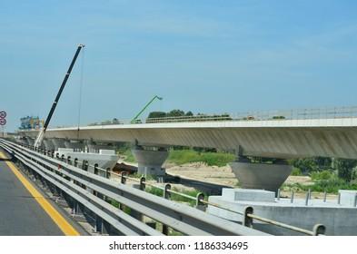 construction motorway bridge, motorway A23, Italy