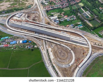 construction of the motorway highway freeway and expressway traffic connection around the city in thailand