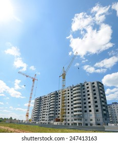 Construction of multi-storey building. Panel house.
