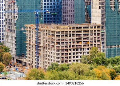 Construction of a multi-storey residential complex or multiplex. Moscow 08/2019