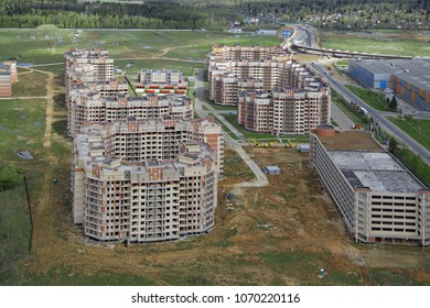Construction of multi-storey residential houses, top view