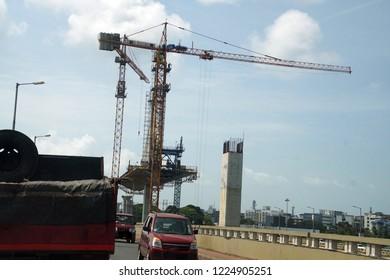 Construction of new cantilever bridge near Old Goa, India