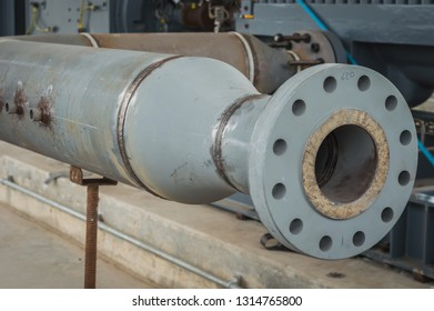 Construction of a new energy pipeline underway.The welded between flange and piping and reducer.Flat welding flange to the pipe steel by a method of manual arc welding. Flanged connection