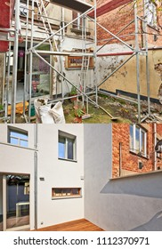 Construction of a new facade in courtyard  from old house before and after