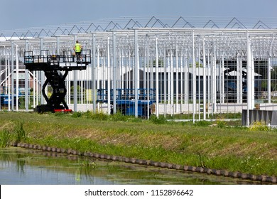 Construction of a new greenhouse in Westland in the Netherlands