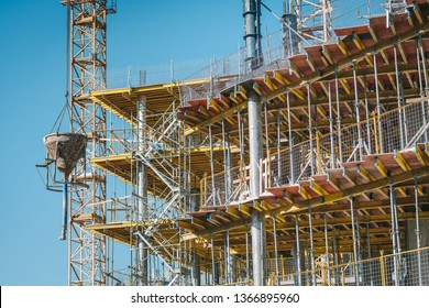 Construction of a new high-rise office building, closeup view of formwork
