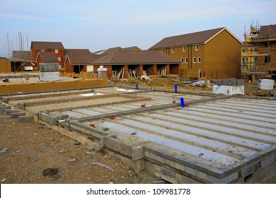 Construction of new houses with foundations in Bristol, UK