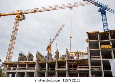 Construction of the new multi-storey building. Horizontally.