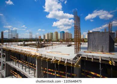 Construction of a new multi-storey building, the work is in full swing.
