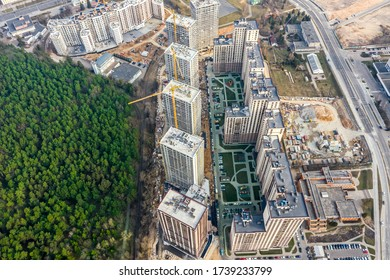 construction of new multistory residential complex. modern apartment buildings under construction. aerial view