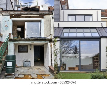 Construction of a new part from old house before and after