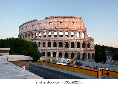 Construction of the new subway in front of the ancient Colosseum in Rome