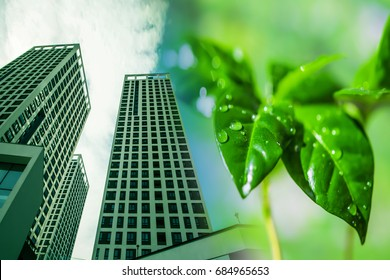 The construction of new tall buildings on a background of green plants. The concept of environmental clean construction .