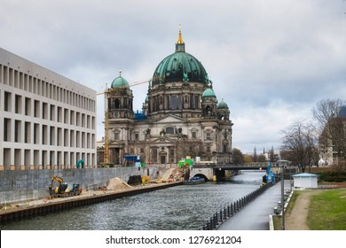Construction of the new underground line U55 leading across the Museum island in Berlin, Germany