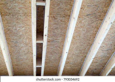 Construction of a new wooden house, wooden skeleton.