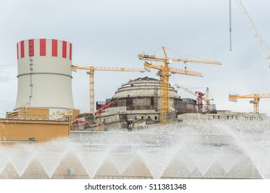 The construction of a nuclear power plant. The construction of the new power, cooling and cooling tower
