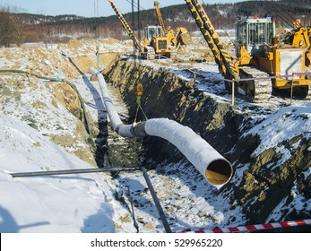 Construction of an oil and gas pipeline. Industrial, equipment.
