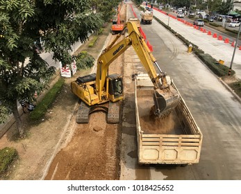 Construction on Main Road in Amphoe Mueang Loei, Thailand Tuesday, February 6, 2018