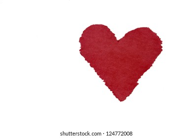 Construction Paper Heart Isolated on White