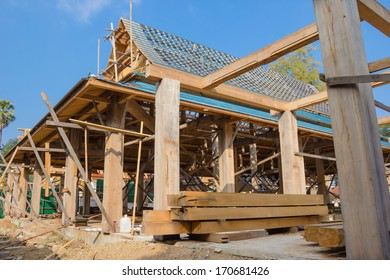 Construction of pavilion at a temple,Thailand