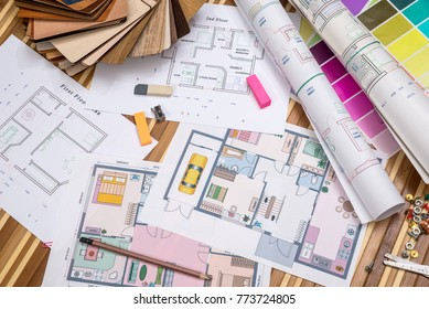 construction plans with color samples and draw tools