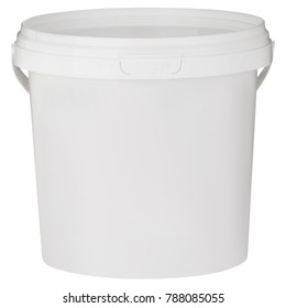 construction plastic bucket with lid isolated on white