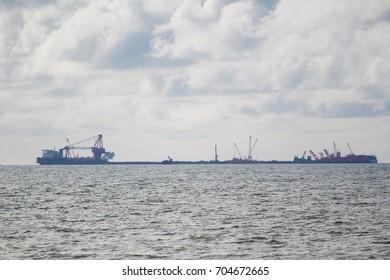 Construction platform in the sea