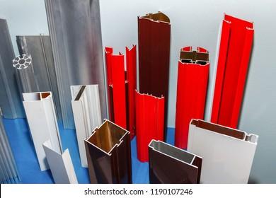 Construction profiles bar. The diversity of aluminum profiles.
