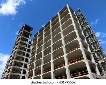 Construction project concrete shell of a building exterior - landscape color photo
