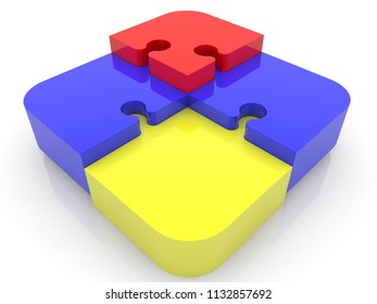 Construction of puzzle pieces in various colors.3d illustration