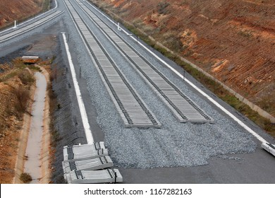 construction of railways on with  gravel and railway sleepers.