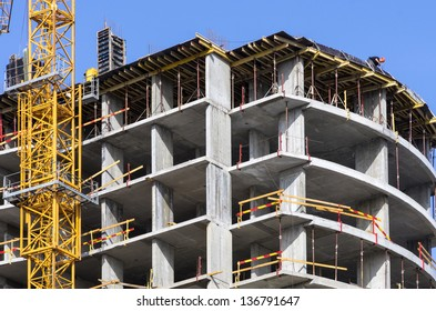 Construction of a residential building. Outskirts of Kiev, a picturesque place near the woods and lakes.