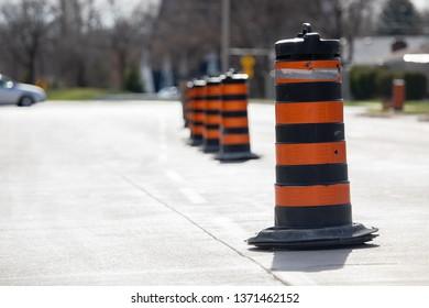 Construction Road Closure City Road Urban Major Road Detour Pylons