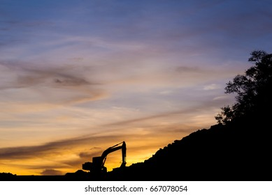 construction of road in the evening at Rayong Thailand