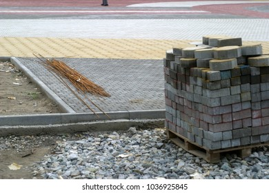 Construction of the road. Industrial summer and autumn background