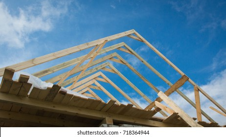 Construction of the roof of the house. Frame elements