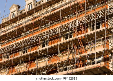 construction scaffolding on a building.