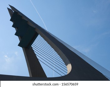 Construction shape. Mary's Bridge over Elbe, Usti nad Labem, Czech Republic
