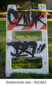 Construction sign with grafitti