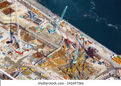 Construction site in aerial view