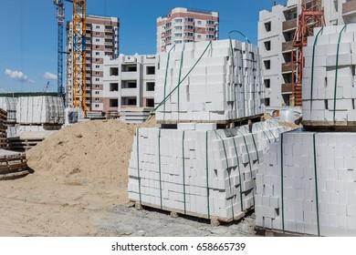 Construction site of apartment building