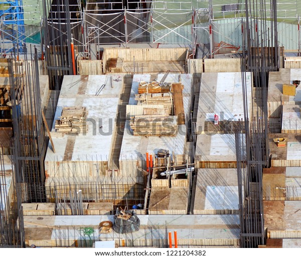 Construction site for apartment building seen from above