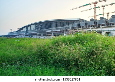 Construction site of Bangkok metropolitan, largest railway station in Southeast Asia and  600 metre long platforms, Thailand