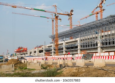 Construction site of Bangsue grand station Bangkok metropolitan  ,largest railway station in Southeast Asia and  600 metre long platforms, Thailand
